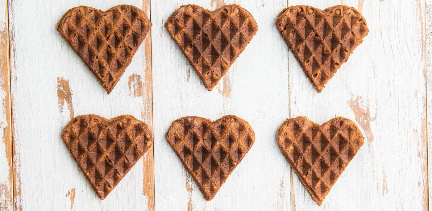 Small chocolate heart shaped waffles